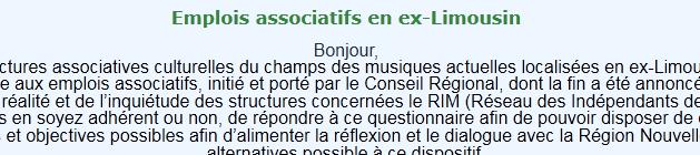 Emplois associatifs en ex Limousin